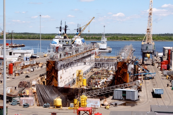 A floating drydock in Drydock #1