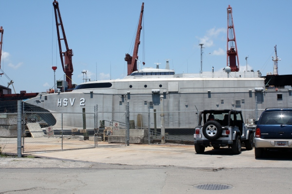 HSV at Shipyard pier for repairs