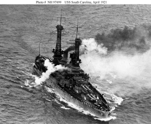 Awesome Battleship, USS South Carolina fires a gun salute